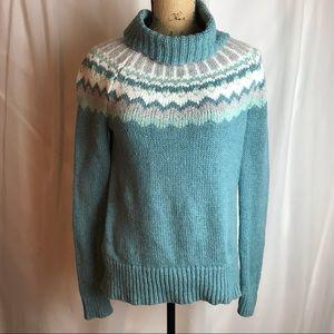 Loft Turtleneck Fair Isle Pullover Sweater